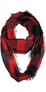 Black and Red Buffalo Plaid Infinity Scarf