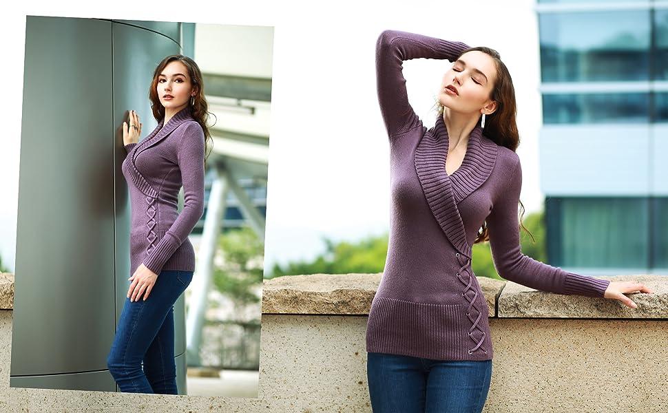 AmélieBoutik Women Shawl Collar Faux Wrap Lace Up Sweater