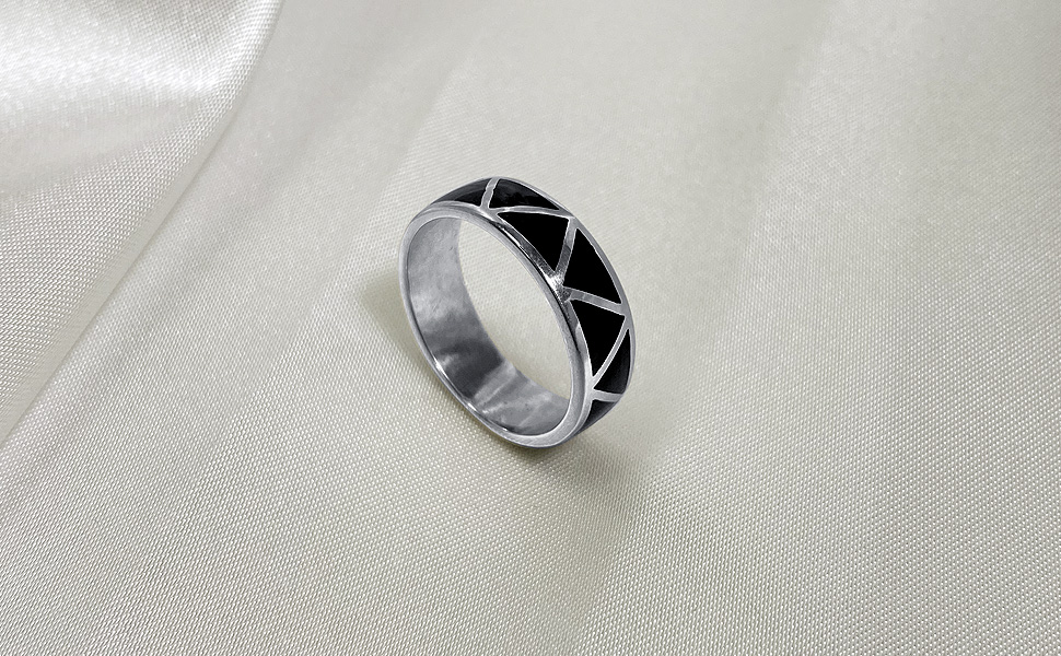 Ring Silver OOAK Handmade Blackened Sterling Silver wide band ring two finish textured fused silver inlay wedding any occasion  men women