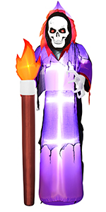 Inflatables Grim Reaper with Glowing Red Eyes