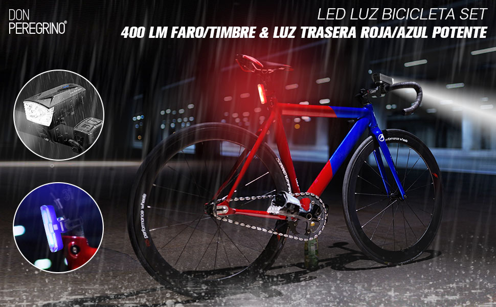 DONPEREGRINO S1 - Set LED Luces Bicicletas USB Recargable con ...