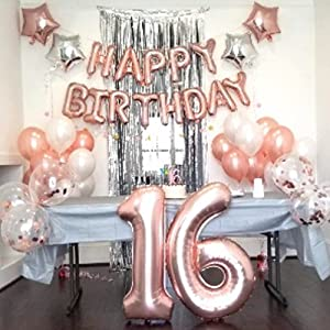 16th Birthday Rose Gold Sweet Sixteen Pink and Gold Sweet 16 Birthday Paper Fans Sweet 16 Party Decorations Decorative Rosettes