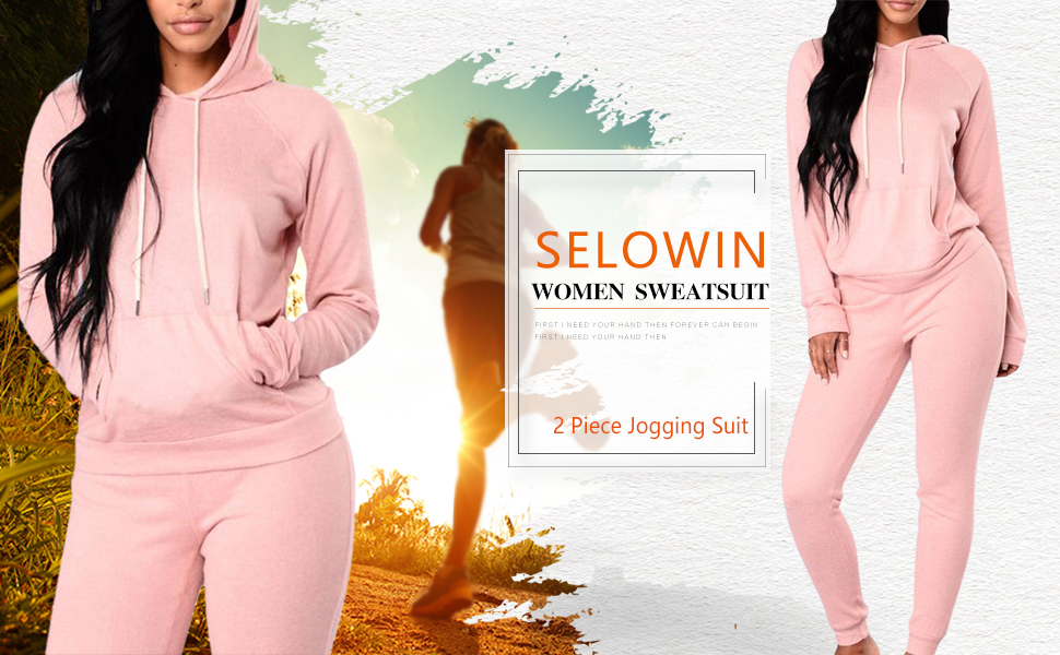 Selowin Women Casual Pullover Hoodie Sweatpants 2 Piece Sport Tracksuit Outfits Set