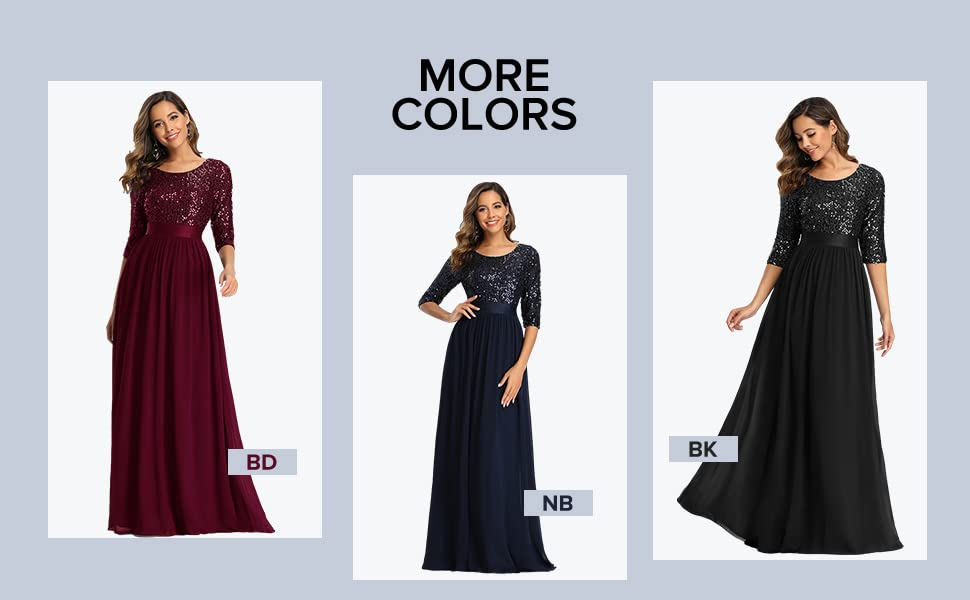 Ever-Pretty Womens long evening dresses with sleeves formal dresses plus size sequin  prom dresses
