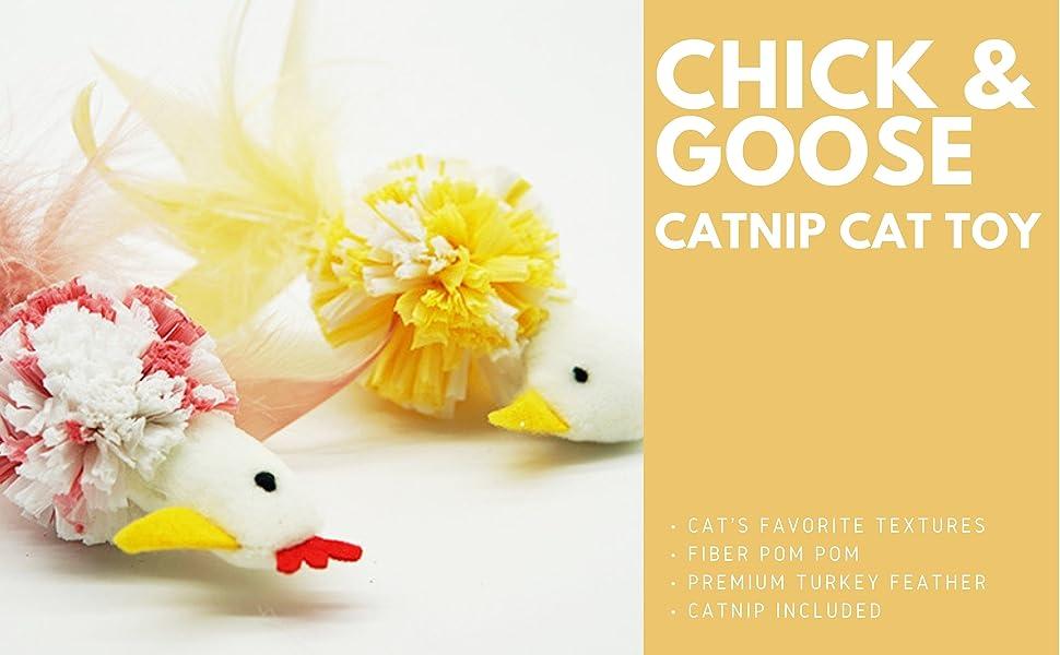 chicken and goose catnip cat toy with pom pom, catnip toy, cat toy, plush cat toy