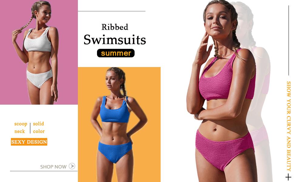 Womens Stripe Low Scoop Crop Tops Two Pieces Triangle Bikini Sets Bathing Suit Swimsuit
