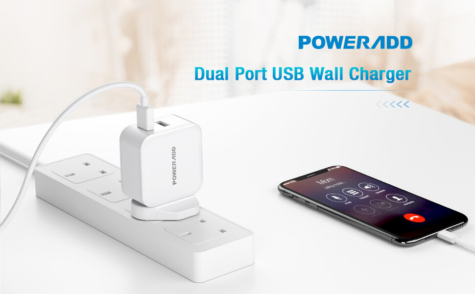 Poweradd USB Plug Charger-24W Dual Port USB Charger 2.4A Output Wall Chargers Power Adapter Compatible with iPhone 11 Pro/XS Max/XR/X/8 Plus, Galaxy, HUAWEI, HTC, Motorola, LG and More–White