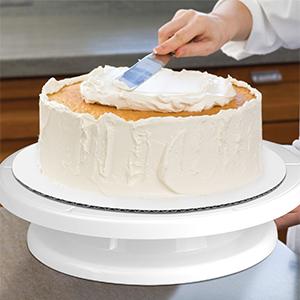 RAINBEAN Plato giratorio de pastel con 3 piezas de raspador de pastel Icing Spatula m/ás suave,recta y offset para principiantes,Soporte giratorio para pasteles,Suministros de decoraci/ón de pasteles