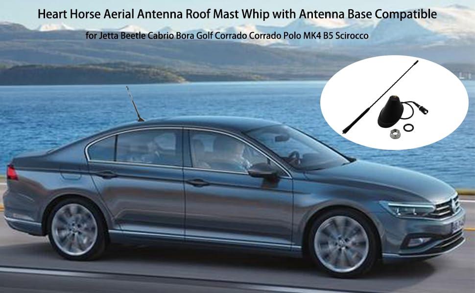 Heart Horse Car Whip Antena de radio aérea y base de antena de techo para Jetta Beetle Cabrio Bora Golf Corrado Corrado Polo MK4 B5 Scirocco (9