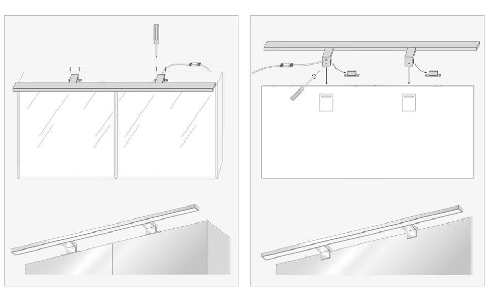LED Lampe Miroir salle de bain IP44 lumière de surface / serrage blanc neutre 4000K 15W 1000lm