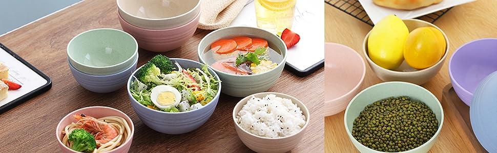 Unbreakable reusable Bowls Wheat Straw Dinner/Dessert/Salad Bowls Lightweight Degradable Noodle Bowl