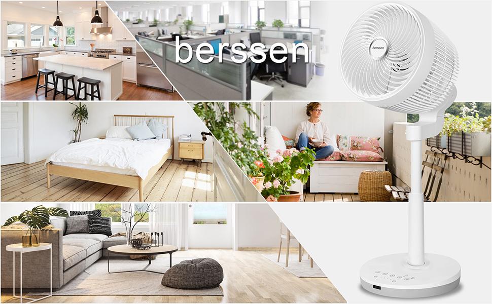 berssen Ventilador Ventilador de Pie silenciosa con mando a distancia Turbo y tecnología DC Motor 30W: Amazon.es: Hogar