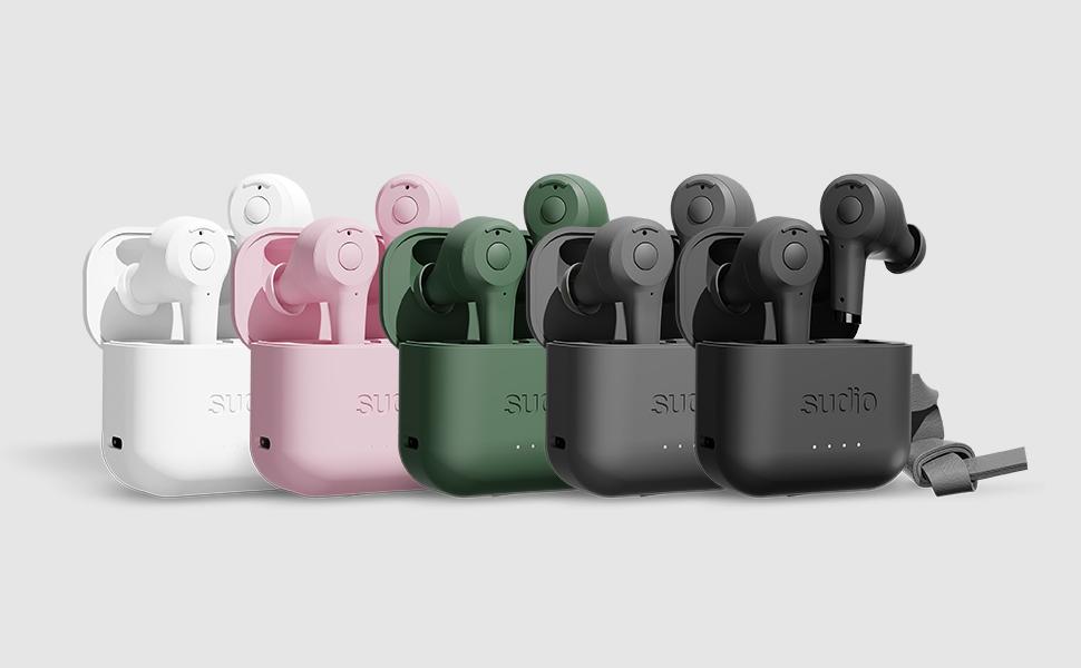 Sudio Ett True Wireless Bluetooth In-Ear Headphones in White, Pink, Green, Anthracite and Black