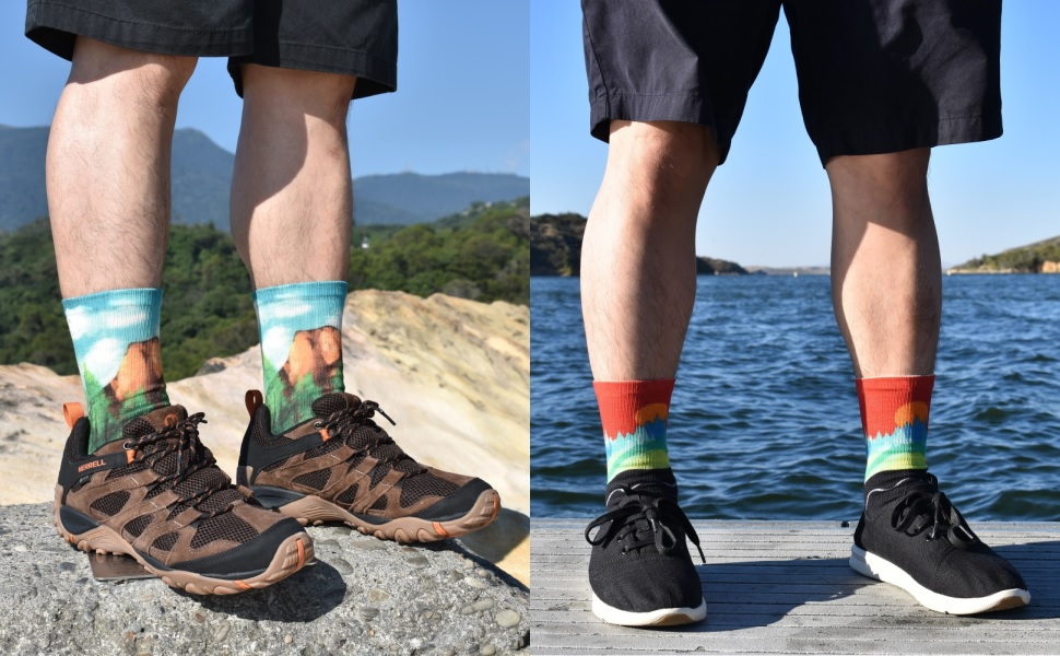 APRIME Mens Crew Cushion Outdoor Socks for Hiking, Trail Running, Climbing, Cycling