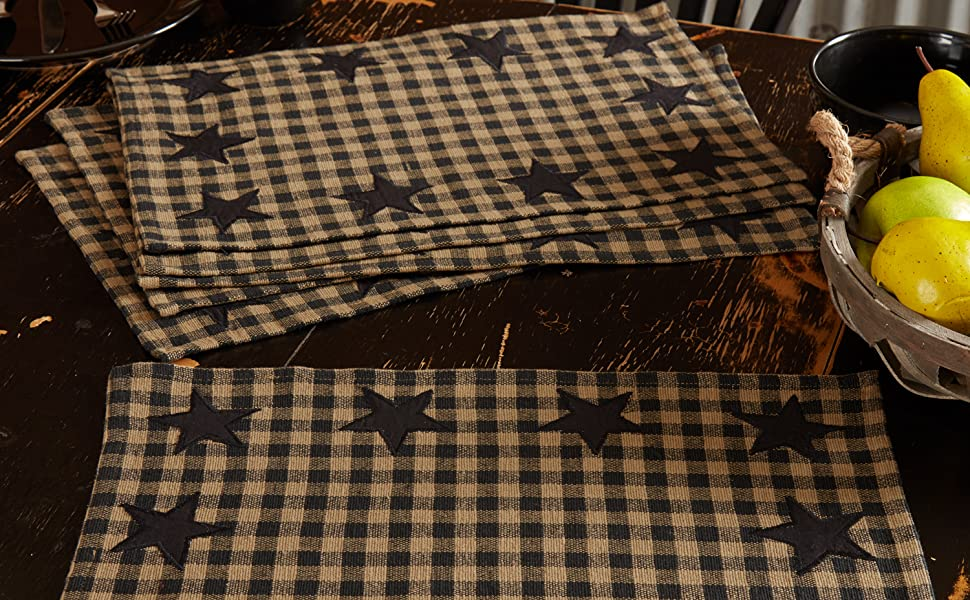 Black Star Placemat primitive country rustic Americana VHC Brands kitchen tabletop runner check star