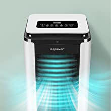 Aigostar Elsa 33QNU- Climatizador evaporativo con mando a distancia, 75W, función purificación de aire, oscilante, 3 modos y 3 velocidades, temporizador 12h, depósito 7 l, 2 cajas hielo.: Amazon.es: Hogar