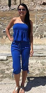 Women Strapless Tube Top Drawstring Ruched Loose Capri Jumpsuit Beachwear