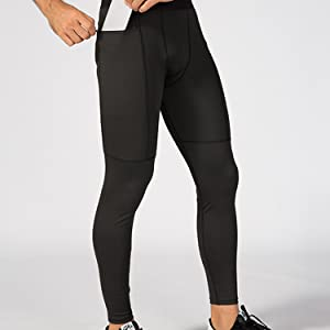 Jessie Kidden Mens Compression Base Layer Tights Pants Fitness Running Cool Dry Sports Leggings with Pocket