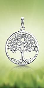 Amberta 925 Sterling Silver - Tree of Life Pendant for Women Styles Family Protection Symbol