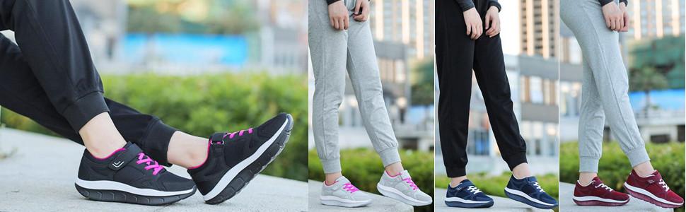 6d9da04db8800 DADAWEN Women's Platform Wedges Tennis Walking Sneakers Comfortable ...