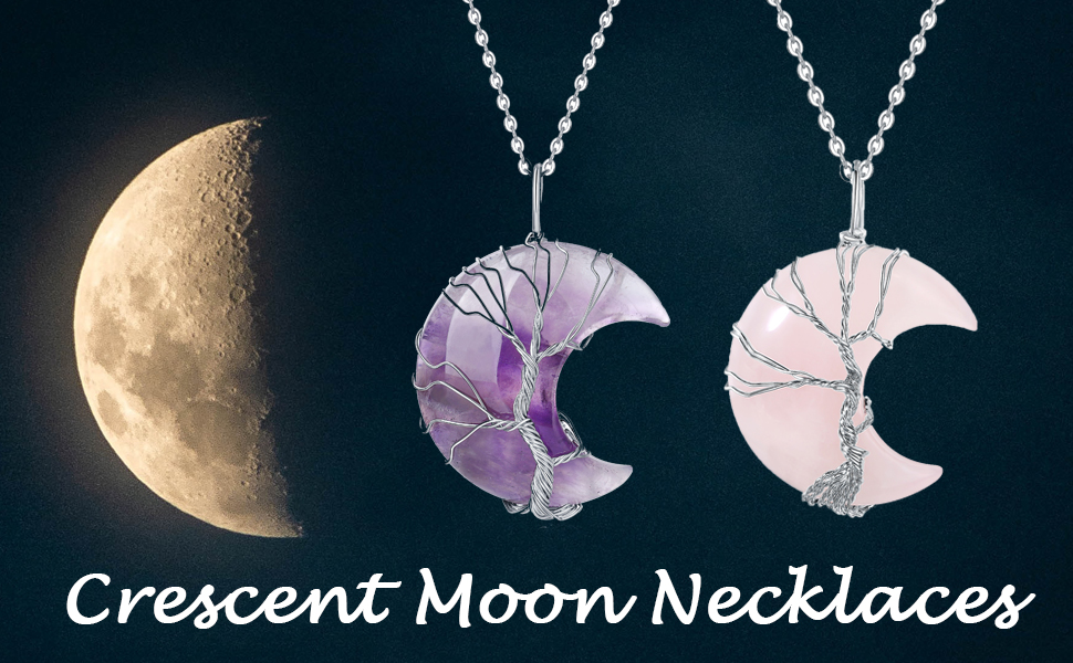 Clear Quartz Crescent Moon Healing Crystal Necklace