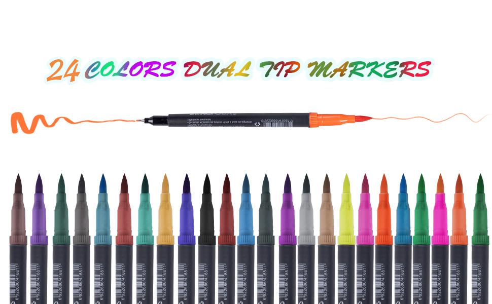 Dual Tip Pastel Colored Pen Fine Point Brush Tips /& Colored Fine Point Pen Set for Lettering Writing Coloring Drawing,Planner Art Supplier 24 Pack Colors LOBKIN Dual Markers Calligraphy Brush Pen