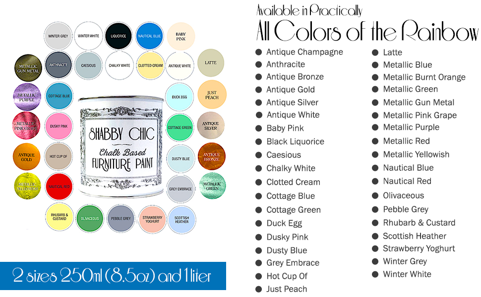 Shabby Chic Furniture paint is available in different colors