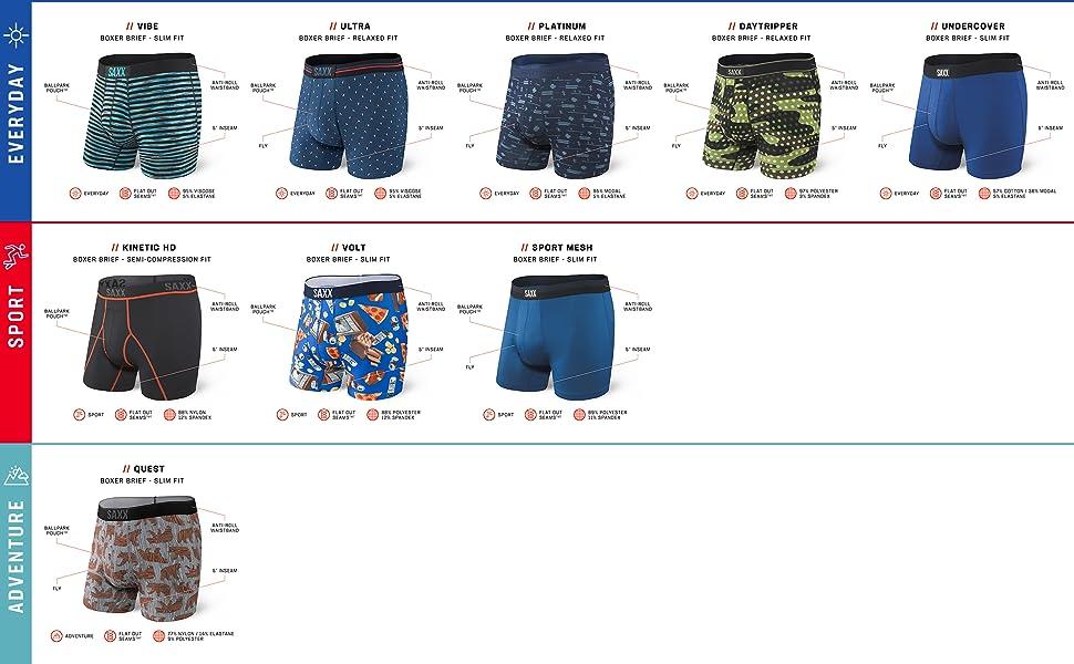 SAXX Underwear men's boxer briefs sports everyday adventure pack patterns solid underwear boxer