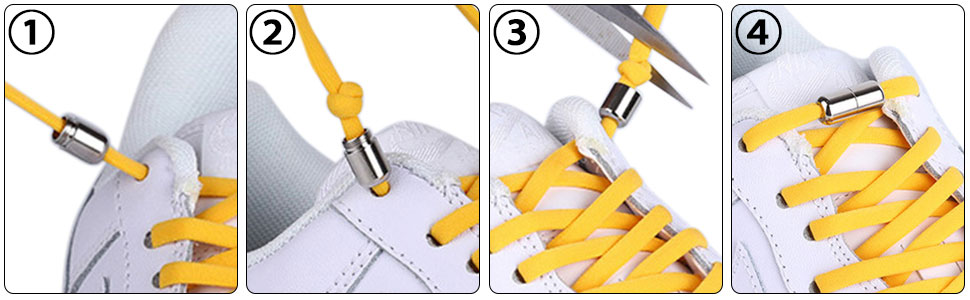 No Tie Elastic Shoe Laces Installation Instructions