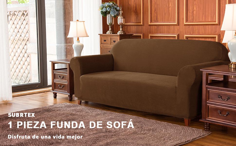 subrtex 1 Pieza Funda de Sofá Poliéster Elástica Cubierta de Asiento Forro de Sofá Doméstica (4 Plazas, Café)