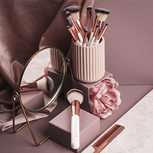 makeup artist brush set brushes vegan cruelty free rose gold professional marble gift bag womens