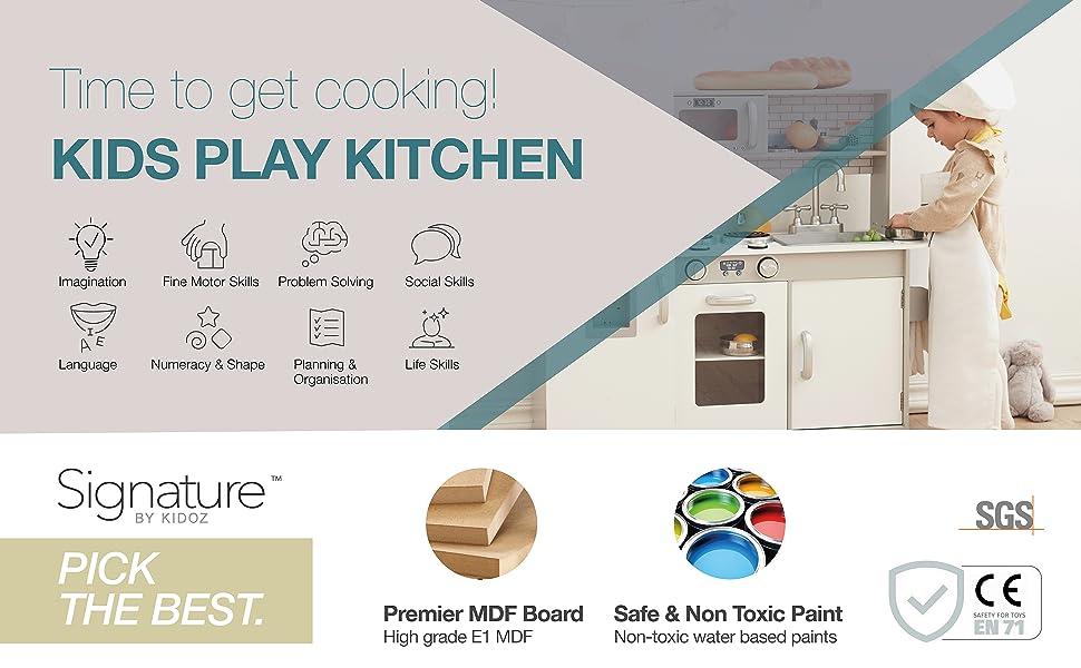 kidoz toy play kitchen fun interactive sensory microwave fridge oven sink taps grey signature wood