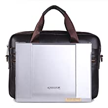 BAGZY Mens Genuine Leather Laptop Briefcase