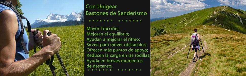 Unigear Bastón de Senderismo Plegables Bastones Trekking de ...