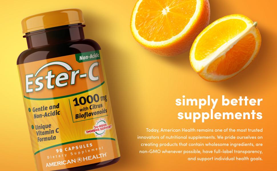 ester-c gentle non-acidic vitamin c formula 24 hour immune support 1000mg citrus bioflavonoids