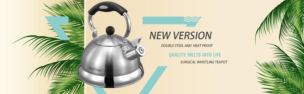 Stainless steel tea kettle whistling, tea kettle stovetop whistling