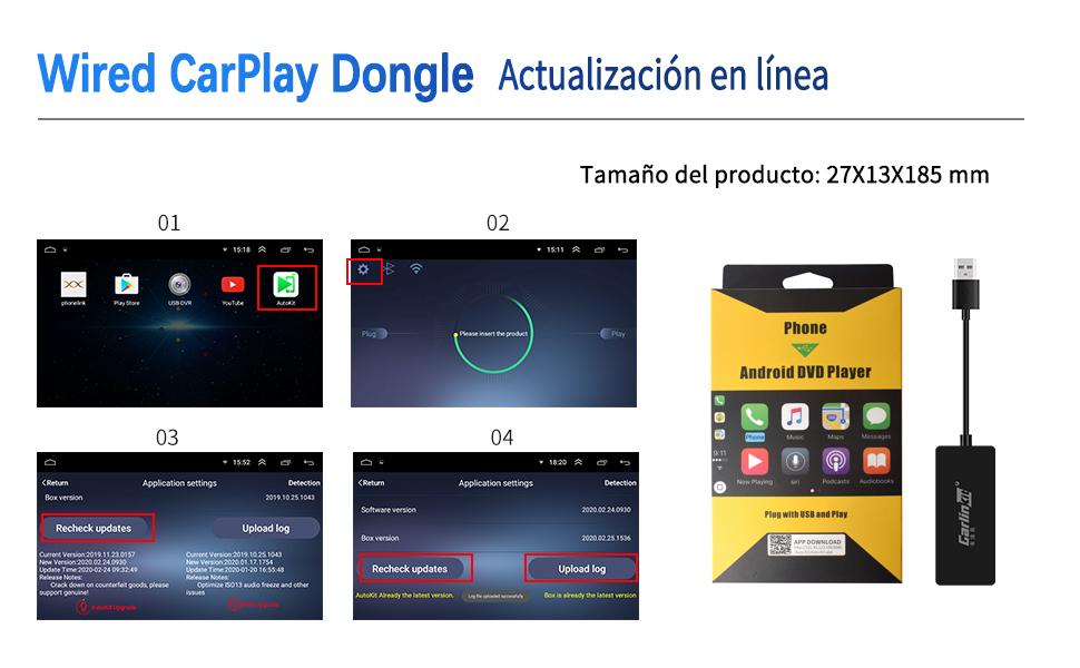 Carlinkit Carplay Dongle con Cable Compatible con la Unidad Principal de Android del Mercado de Accesorios Instaló autokit admite Carplay/Android ...