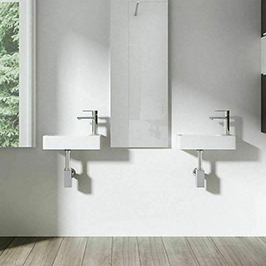white wall mounted sink