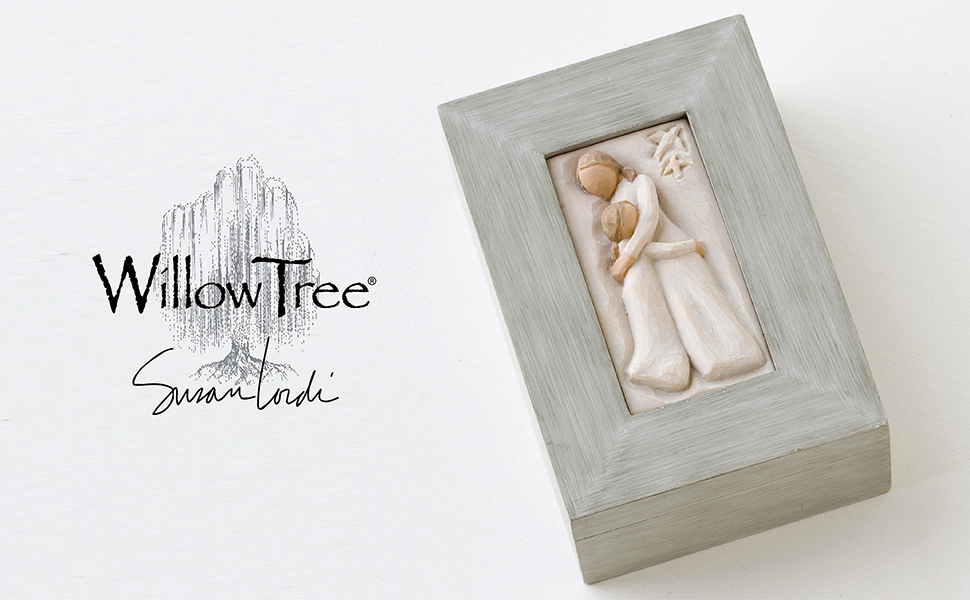 Willow Tree Mother and Daughter Memory Box, two figures hugging on lid.