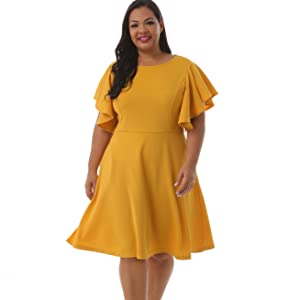 Nemidor Women's Vintage Plus Size Dress Yellow