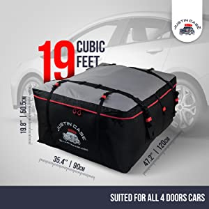 Enjoy the convenience of a full 19 cu. ft. of rooftop storage space, most other roof cargo carriers