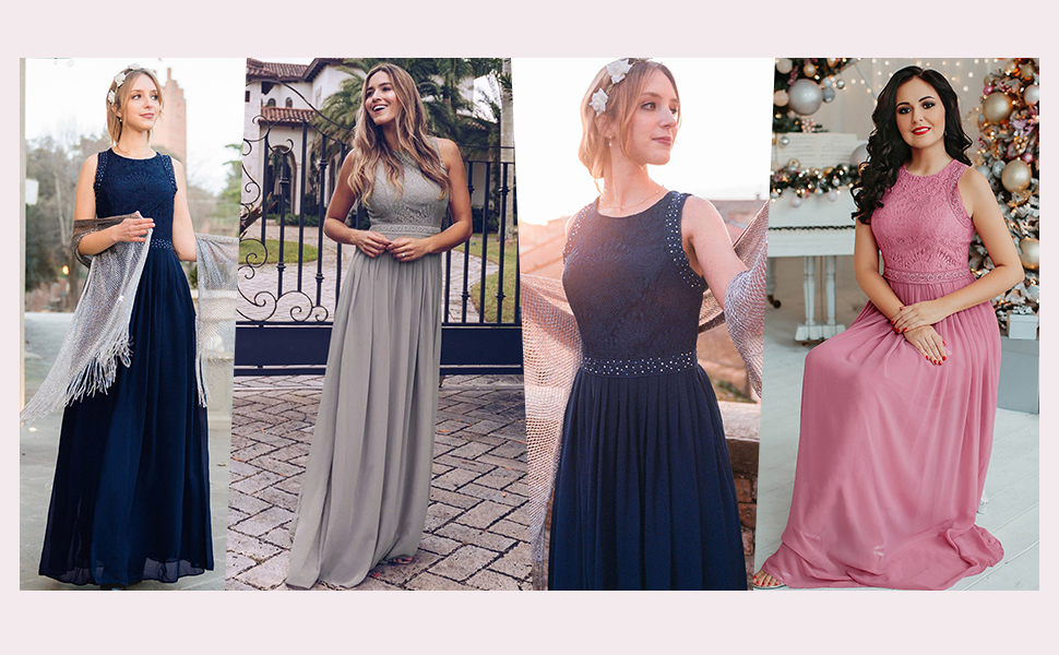 Ever Pretty chiffon bridesmaid dress for girls rinestone formal wedding guest gowns lace prom dress