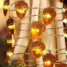 Acorn String Lights for Christmas Tree