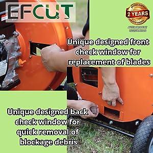 EFCUT wood chipper shredders, unique designed check windows