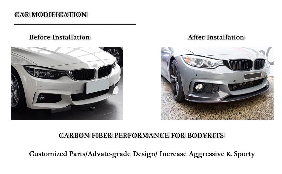 1 Pair Carbon Fiber Qiilu Side Skirt Fits Universal Car Vehicles Glossy Black Lip Rocker Splitters Winglet Car Diffuser