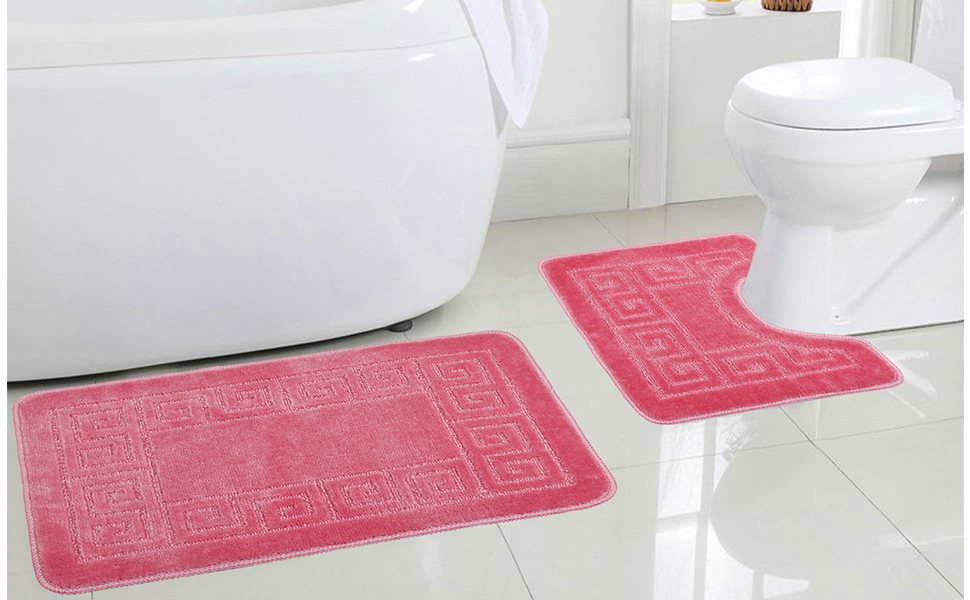 2 Piece BATH MAT SET NON SLIP RUBBER Machine Washable Polypropylene