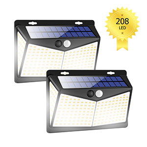 SeedAlarm Luces Solares para Exteriores con Detector de Movimiento 208 LED
