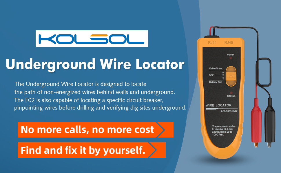 KOLSOL F02 Underground Cable Wire Locator Tracker Locating /& tracking buried