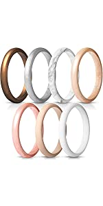 Women's Thin and Stackable Silicone Rings Wedding Bands