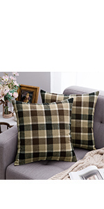 buffalo check plaid pillows taupe brown coffee farmhouse pillow covers classic